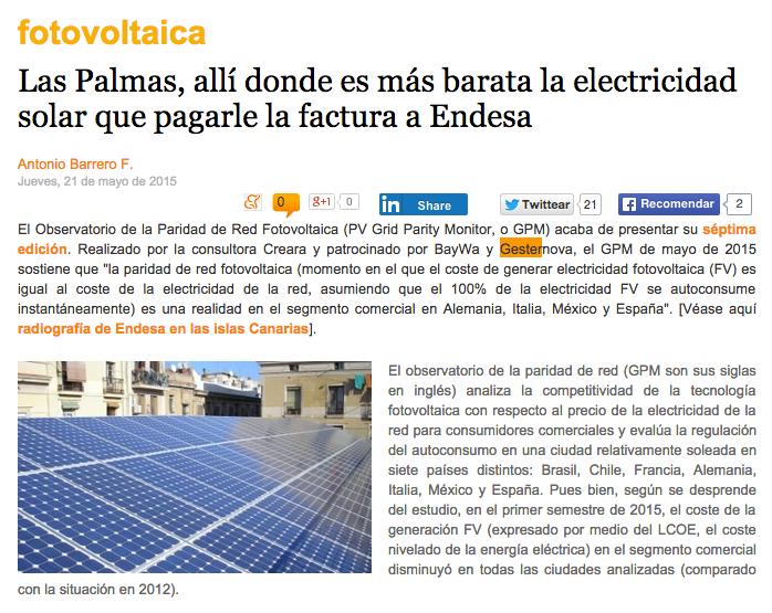 e-renovables observatorio paridad red fotovoltaica