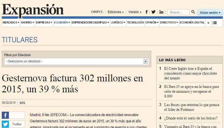 Gesternova facturo 302 millones en 2015, un 39% mas
