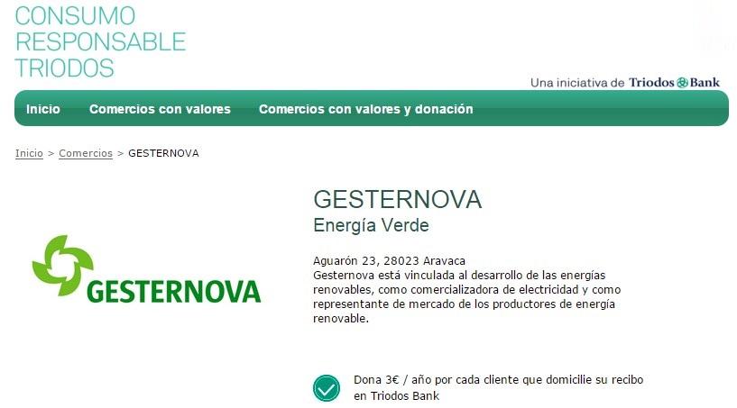 Gesternova en la web Consumo Responsable TriodosBank