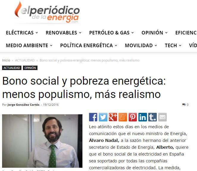 Bono social y pobreza energética: menos populismo, más realismo