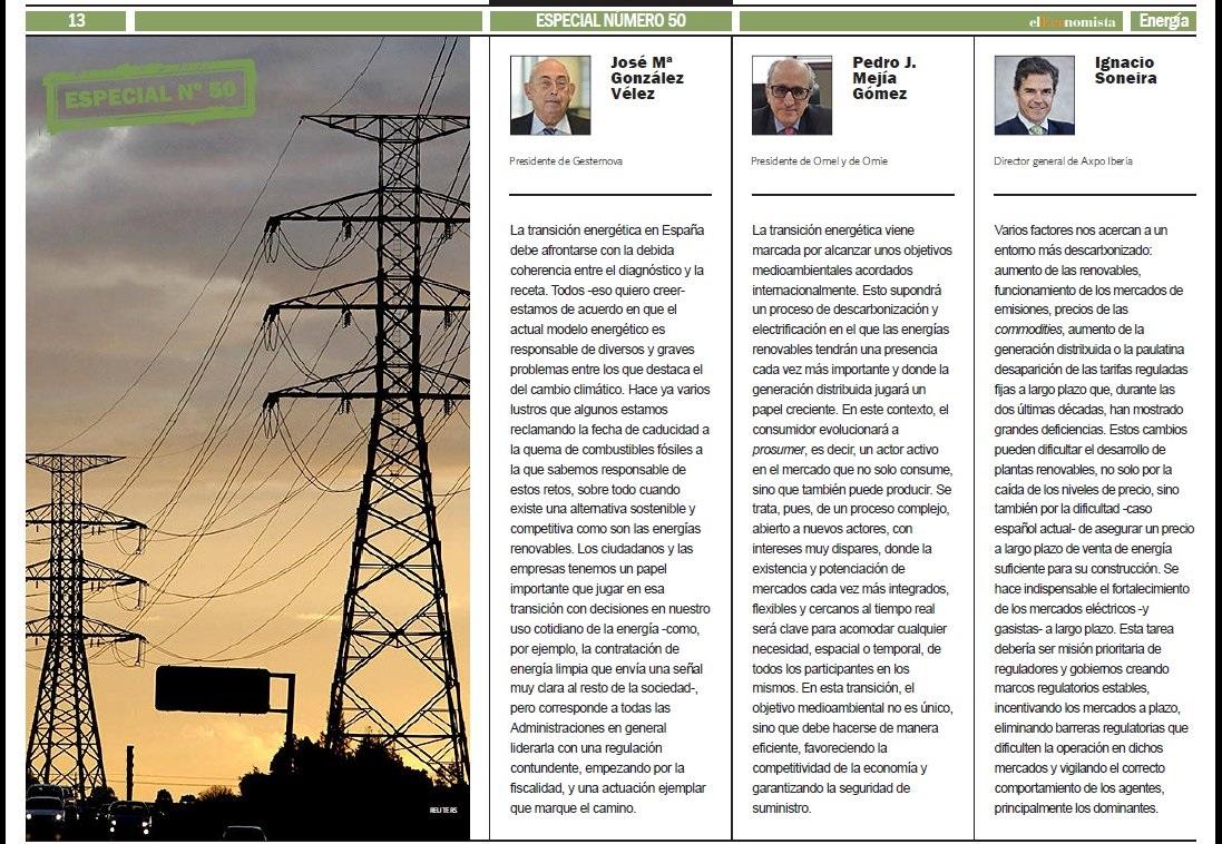 José María González Vélez opina sobre la transición energética en El Economista